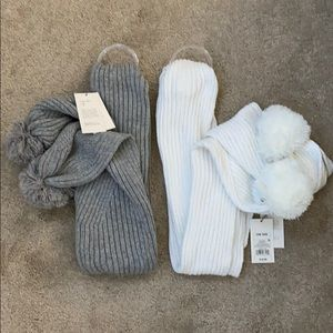 Two Long sweater scarfs with Pom Pom ends